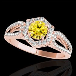 1.43 CTW Certified Si Fancy Intense Yellow Diamond Solitaire Halo Ring 10K Rose Gold - REF-176N4Y -