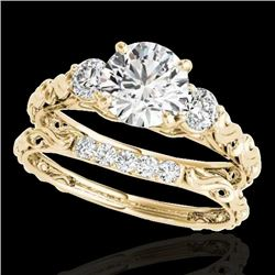 1.35 CTW H-SI/I Certified Diamond 3 Stone Ring 10K Yellow Gold - REF-174R5K - 35432