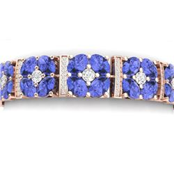 36.98 CTW Royalty Tanzanite & VS Diamond Bracelet 18K Rose Gold - REF-718X2T - 39022