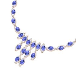 65.60 CTW Royalty Tanzanite & VS Diamond Necklace 18K Rose Gold - REF-1345N5Y - 39004