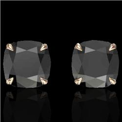 6 CTW Cushion Cut Black VS/SI Diamond Designer Stud Earrings 14K Rose Gold - REF-136Y2N - 21734