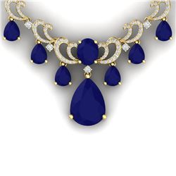 34.91 CTW Royalty Sapphire & VS Diamond Necklace 18K Yellow Gold - REF-963X6T - 38663