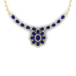 38.46 CTW Royalty Sapphire & VS Diamond Necklace 18K Yellow Gold - REF-618K2R - 39038