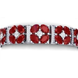 39.78 CTW Royalty Ruby & VS Diamond Bracelet 18K White Gold - REF-636H4W - 39015