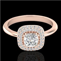 1.16 CTW Micro Si Cushion Diamond Engagement Ring Solitaire Halo 14K Rose Gold - REF-134K4R - 21030