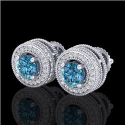 2.09 CTW Fancy Intense Blue Diamond Art Deco Stud Earrings 18K White Gold - REF-218R2K - 38013