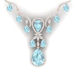 39.14 CTW Royalty Sky Topaz & VS Diamond Necklace 18K Rose Gold - REF-618X2T - 38599
