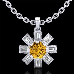 1.33 CTW Intense Fancy Yellow Diamond Art Deco Stud Necklace 18K White Gold - REF-138N2Y - 37875