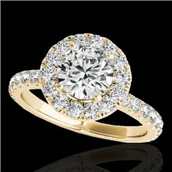 1.75 CTW H-SI/I Certified Diamond Solitaire Halo Ring 10K Yellow Gold - REF-180W2H - 33438