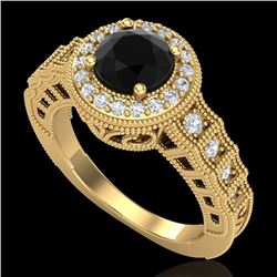 1.53 CTW Fancy Black Diamond Solitaire Engagement Art Deco Ring 18K Yellow Gold - REF-161H8W - 37648