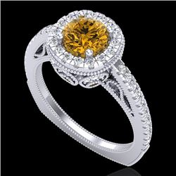 1.55 CTW Intense Fancy Yellow Diamond Engagement Art Deco Ring 18K White Gold - REF-178T2X - 37987
