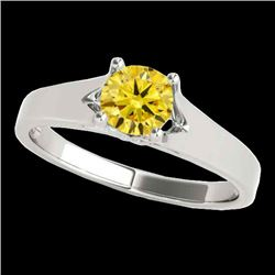 1 CTW Certified Si Fancy Intense Yellow Diamond Solitaire Ring 10K White Gold - REF-140X2T - 35162