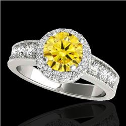 1.85 CTW Certified Si Fancy Intense Yellow Diamond Solitaire Halo Ring 10K White Gold - REF-207T3X -