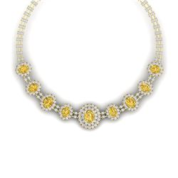 43.20 CTW Royalty Canary Citrine & VS Diamond Necklace 18K Yellow Gold - REF-1490M9F - 38807