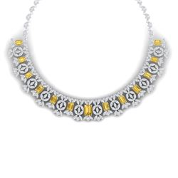 46.38 CTW Royalty Canary Citrine & VS Diamond Necklace 18K White Gold - REF-1563H6W - 39387