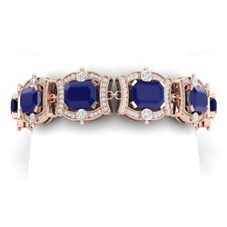 43.87 CTW Royalty Sapphire & VS Diamond Bracelet 18K Rose Gold - REF-763H6W - 38782