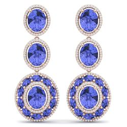 33.72 CTW Royalty Tanzanite & VS Diamond Earrings 18K Rose Gold - REF-581H8W - 39265