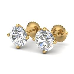 3.01 CTW VS/SI Diamond Solitaire Art Deco Stud Earrings 18K Yellow Gold - REF-927Y3N - 37312