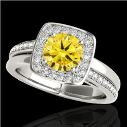 1.33 CTW Certified Si Fancy Intense Yellow Diamond Solitaire Halo Ring 10K White Gold - REF-176Y4N -