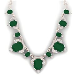 75.21 CTW Royalty Emerald & VS Diamond Necklace 18K Rose Gold - REF-1363X6T - 38746