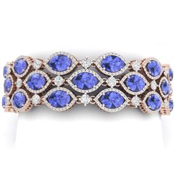 48.16 CTW Royalty Tanzanite & VS Diamond Bracelet 18K Rose Gold - REF-1236K4R - 38896