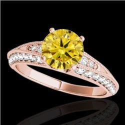 1.58 CTW Certified Si Intense Yellow Diamond Solitaire Antique Ring 10K Rose Gold - REF-172H8W - 346