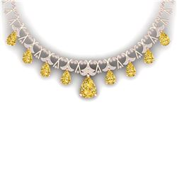 55.49 CTW Royalty Canary Citrine & VS Diamond Necklace 18K Rose Gold - REF-945Y5N - 38713