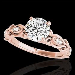 1.1 CTW H-SI/I Certified Diamond Solitaire Antique Ring 10K Rose Gold - REF-156T4X - 34631