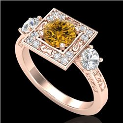 1.55 CTW Intense Fancy Yellow Diamond Art Deco 3 Stone Ring 18K Rose Gold - REF-178M2F - 38177