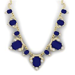 75.21 CTW Royalty Sapphire & VS Diamond Necklace 18K Yellow Gold - REF-1072M8F - 38753