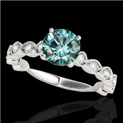 1.5 CTW SI Certified Fancy Blue Diamond Solitaire Ring 10K White Gold - REF-163F6M - 34885