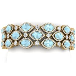 53.84 CTW Royalty Sky Topaz & VS Diamond Bracelet 18K Yellow Gold - REF-1018W2H - 38900