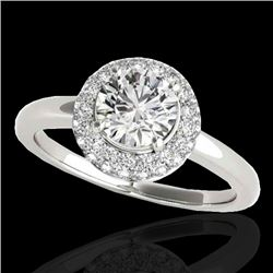 1.43 CTW H-SI/I Certified Diamond Solitaire Halo Ring 10K White Gold - REF-169Y3N - 33661