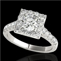 2 CTW H-SI/I Certified Diamond Solitaire Halo Ring 10K White Gold - REF-210R9K - 34132