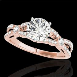 1.35 CTW H-SI/I Certified Diamond Solitaire Ring 10K Rose Gold - REF-167H3W - 35224