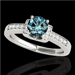 1.11 CTW SI Certified Fancy Blue Diamond Solitaire Ring Two Tone 10K White Gold - REF-156W4H - 34833