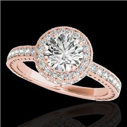 1.51 CTW H-SI/I Certified Diamond Solitaire Halo Ring 10K Rose Gold - REF-180R2K - 34302