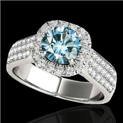 1.8 CTW SI Certified Fancy Blue Diamond Solitaire Halo Ring 10K White Gold - REF-209N3Y - 34065