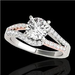 1.4 CTW H-SI/I Certified Diamond Solitaire Ring Two Tone 10K White & Rose Gold - REF-176K4R - 35297