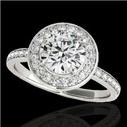 1.65 CTW H-SI/I Certified Diamond Solitaire Halo Ring 10K White Gold - REF-219Y5N - 34369