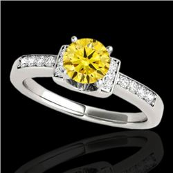 1.11 CTW Certified Si Fancy Yellow Diamond Solitaire Ring 2 Tone 10K White Gold - REF-156K4R - 34834