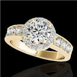 2.1 CTW H-SI/I Certified Diamond Solitaire Halo Ring 10K Yellow Gold - REF-227T3X - 34542