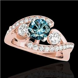 2.26 CTW SI Certified Fancy Blue Diamond Bypass Solitaire Ring 10K Rose Gold - REF-309Y3N - 35060