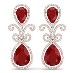 31.6 CTW Royalty Designer Ruby & VS Diamond Earrings 18K Rose Gold - REF-445T5X - 39544
