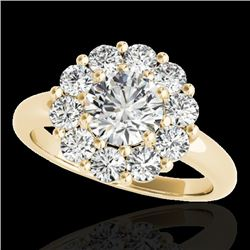 2.09 CTW H-SI/I Certified Diamond Solitaire Halo Ring 10K Yellow Gold - REF-250N9Y - 34425