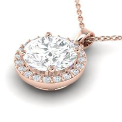 1.75 CTW VS/SI Diamond Certified Pave Necklace 14K Rose Gold - REF-525N2Y - 21567
