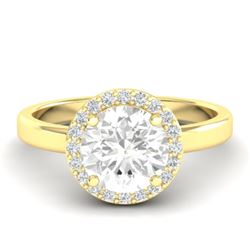 1.75 CTW VS/SI Diamond Certified Pave Ring Bridal 18K Yellow Gold - REF-533Y8N - 21640