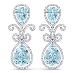 30.49 CTW Royalty Sky Topaz & VS Diamond Earrings 18K White Gold - REF-301Y8N - 39549