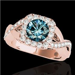 2 CTW SI Certified Fancy Blue Diamond Solitaire Halo Ring 10K Rose Gold - REF-234N5Y - 33322