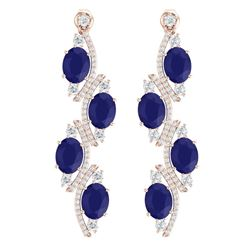 16.12 CTW Royalty Sapphire & VS Diamond Earrings 18K Rose Gold - REF-272X8T - 38983